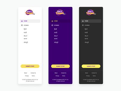 Sidebar navigations -  StoryToonsTV website web design user experience user interface nav menu icon navigation menu navigation side menu sidebars sidebar navigation sidebar