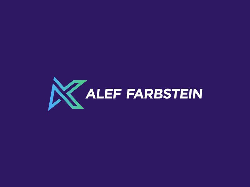 Alef Farbstein - logo design type lettering blue purple green brand abstract simple message flat bold design art for business minimalist identity creative branding clean monogram logo symbol minimal logotype investment company hebrew mark