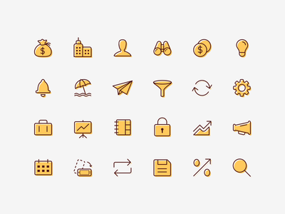 Financial App Icon Set - Investing.com finance and investing minimal icon set clean brand iconography user interface interactive prototype ui ux gui finance line art flat design mobile app icons ios and android creative style
