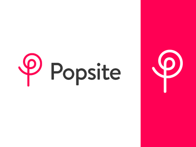 Popsite logo typography sans serif font symbol line monogram strong bold image site design popsicle logo mark o  p bright clear message modern pop identity brand fun dynamic organic flower tree clean flat branding