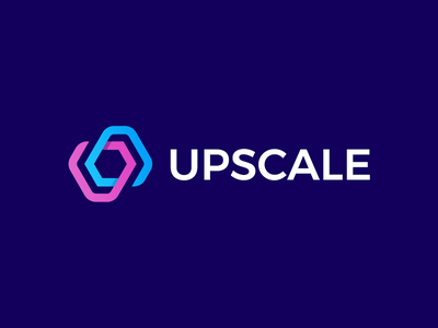 Upscale Analytics Logo pink purple blue logo mark logotype symbol growth sales firm geometric polygon hexagon clean minimal branding design bold strong identity analytics dashboard