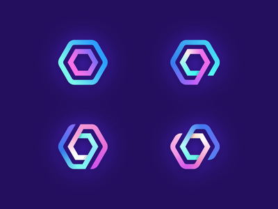 Upscale Logo Exploration bold flashy neon shapes mesmerizing lights gradient fun cheerful gradients hexagon branding brand logo mark symbol identity pink purple blue bright saturated colors