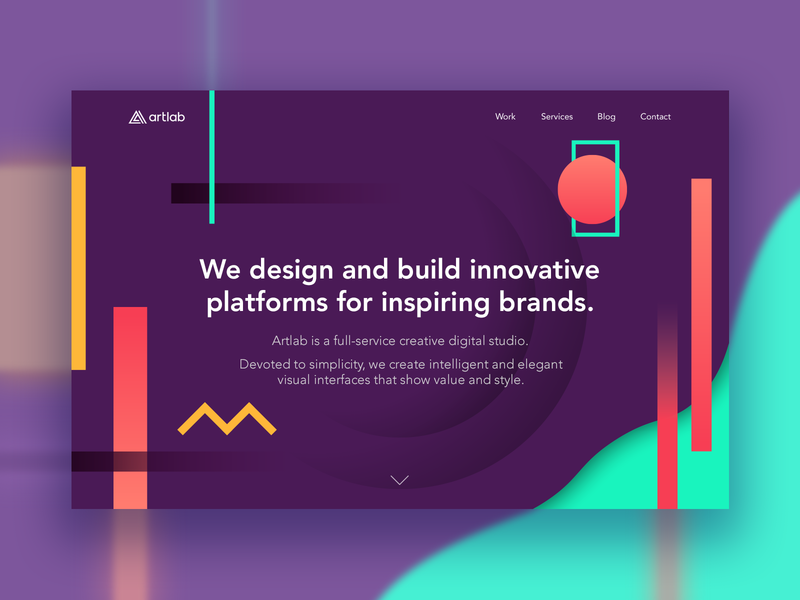 Artlab Studio - Landing Page colorful saturated color palette homepage landing page minisite ui ux identity web website site abstract geometric shapes development studio digital boutique agency creative graphic design