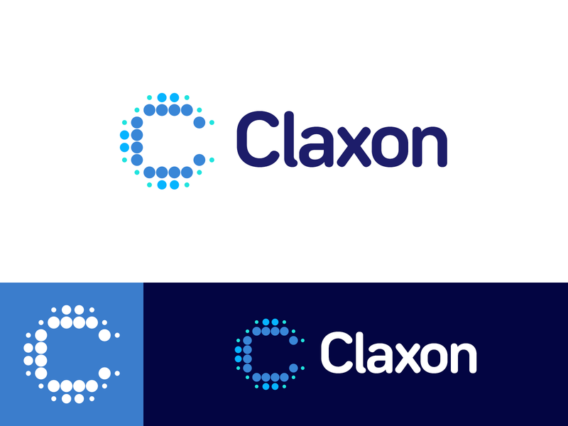 Claxon Pharmaceuticals Logo concept letter identity tech bold type typography chemical labs science icon mark dotted halftone pattern clean abstract geometric c letter monogram mark symbol abstract dot branding