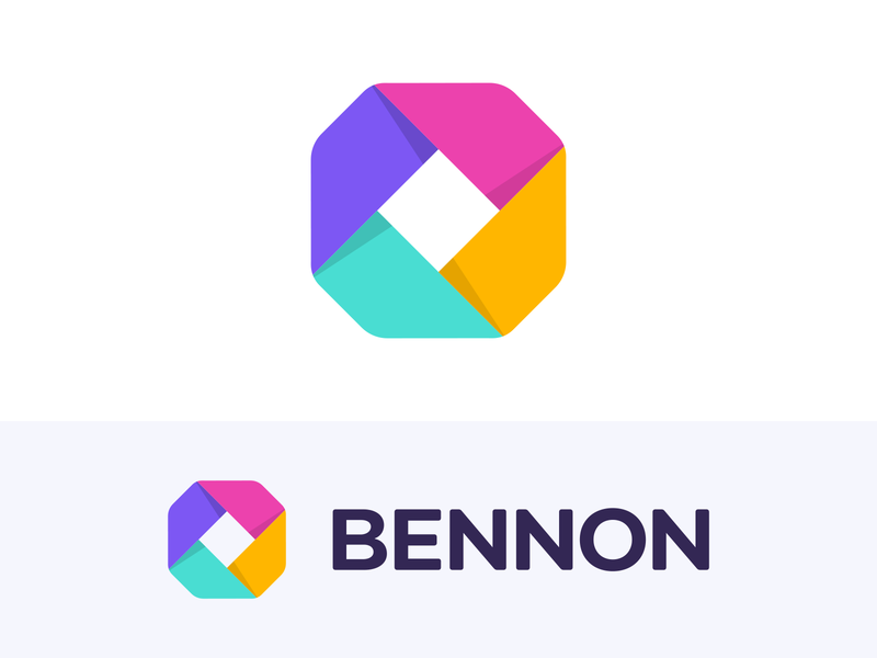 Logo for Bennon - SEO Marketing Tool colorful octagon geometric shape saas software online bold clear minimal message purple pink yellow green minimal symbol mark monogram brand branding clean identity