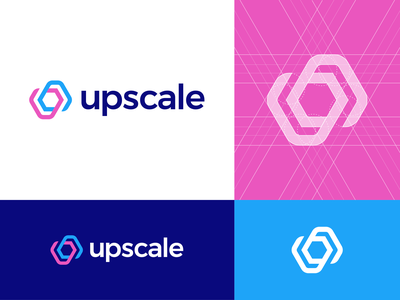 Upscale Analytics Logo Concept mobile device icon geometric simple monogram mark symbol clean marketing marketers sales grow growth hacking app user acquisition logos grid gridding analytics dashboard tool branding identity design