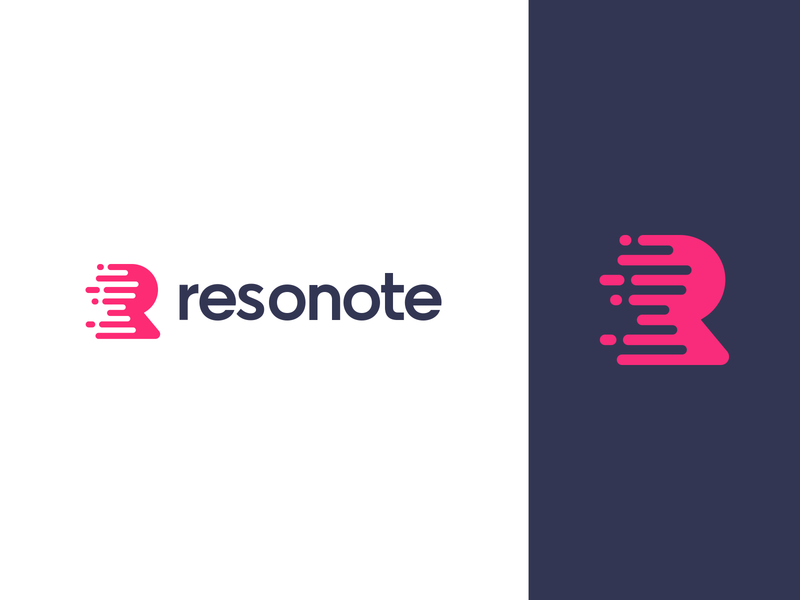 Resonote logo ios and android note keeping app dynamic movement shape clean icon logo bold clear monogram minimal abstract symbol simple abstract mark branding and identity