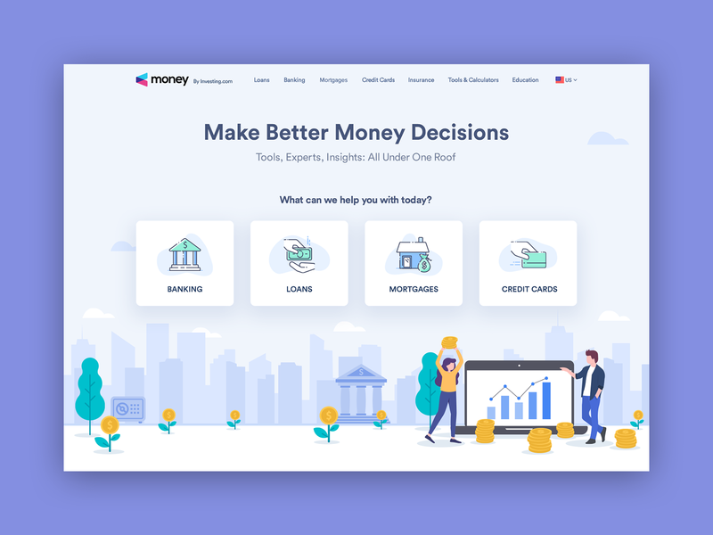 Investing Money Homepage icons business illustration art money investing finance financial portal ui ux concept website site design web design webdesign