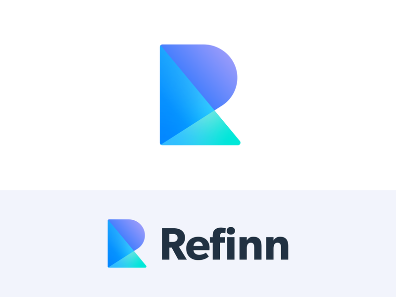 Refinn Logo finance fintech investing typography text monogram minimal modern geometric shape creative idea design symbol uniqu gradient color branding mark brand identity