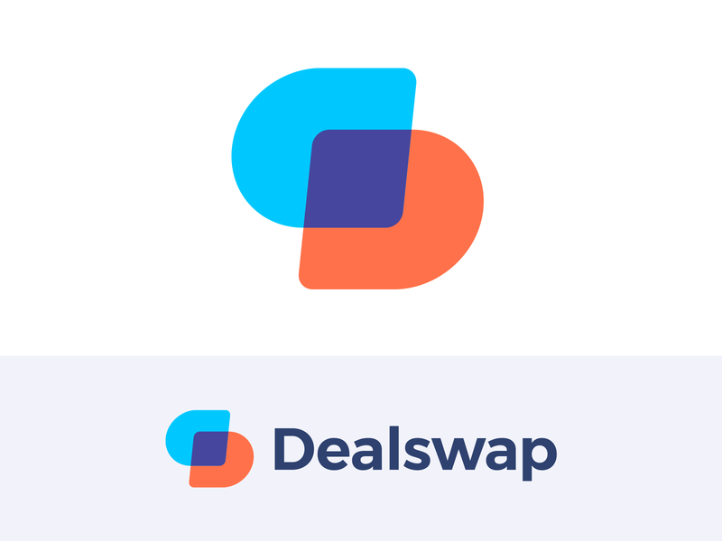 Dealswap Logo symbol clean monogram purple blue orange colors play playful fun overlap mark modern bold bright marketing c2c customer icon technology online deal swapping barter creative branding brand identity logos