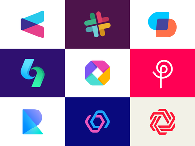 Best nine Dribbble logos of 2019 colorful flat slack investing blend icon 2d 3d pop culture web hi-tech identity design clean symbol monogram branding logo mark brand hitec digital media product interface invest finance technology hitech square octagon skewed fintech gradient colors analytics arrow up down abstract geometric shape