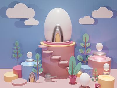 Incubator - 3D Illustration instagram egg 3d icon 3d animation animated gif 3d artist 3d art illustrator landing page ux design incubator blender3d illustration blender