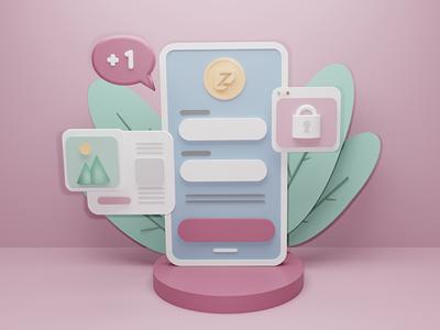 Lost in Social Media - 3D Illustration brand 3d icon like 3d artist 3d artwork app design phone ui design blender zuzzetech zuzze