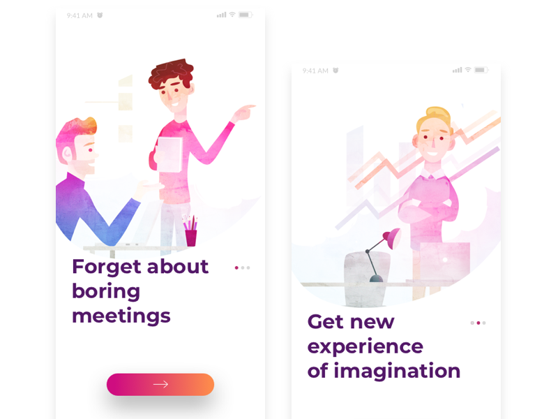 Meety app onboarding illustrations characters interface ui onboarding iphone ios illustration