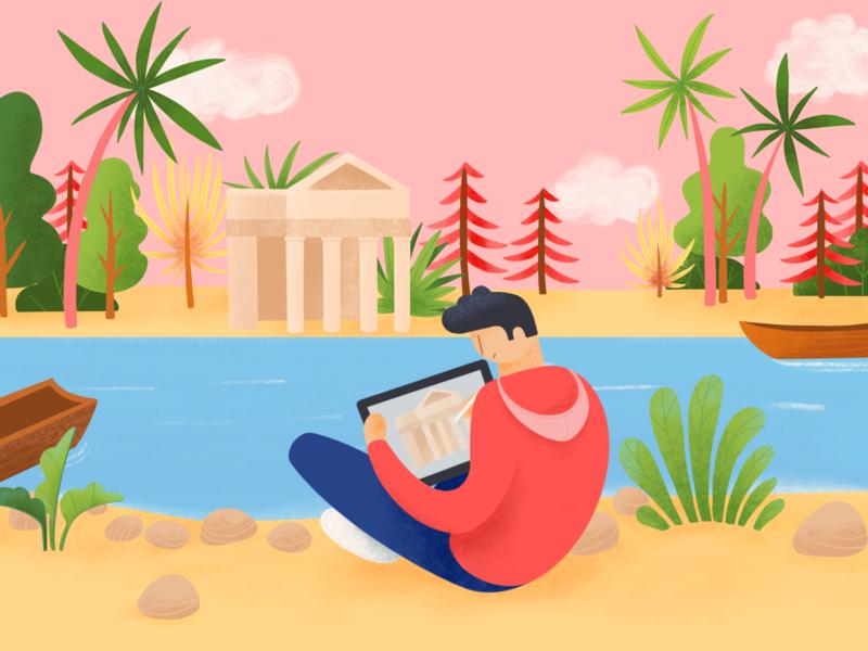When in Rome procreate ui draftsman lake italy rome architect illustrator ipad ukraine procreateapp typography editorial web illustration