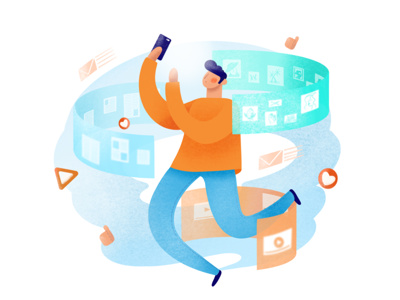 Social Media procreateapp abstract raster illustration character illustration character media social procreate illustration