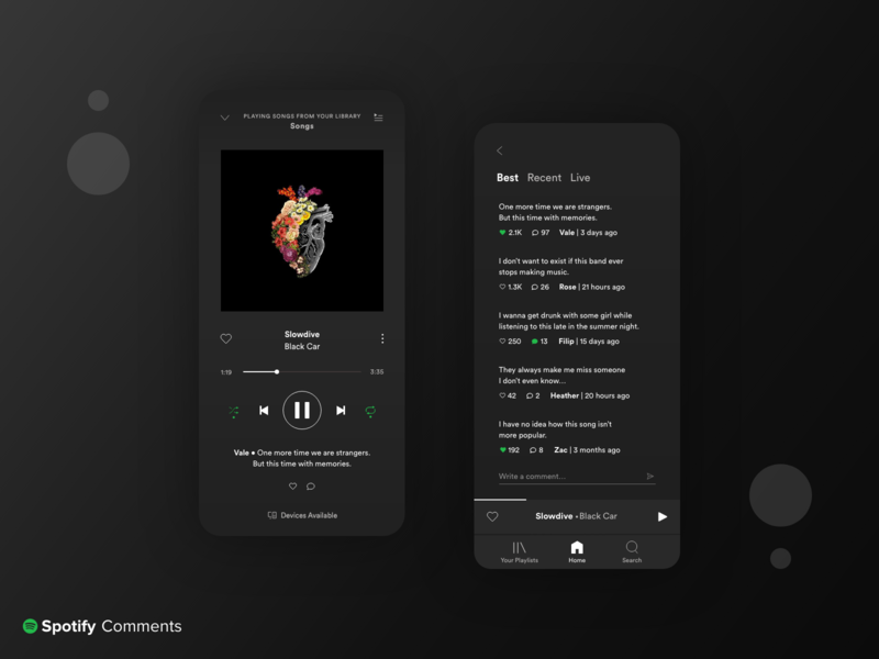 Spotify Comments Concept minimal player music neumorphism gradient mobile ui dark design music player spotify ui  ux adobe xd dark ui dark mode clean app