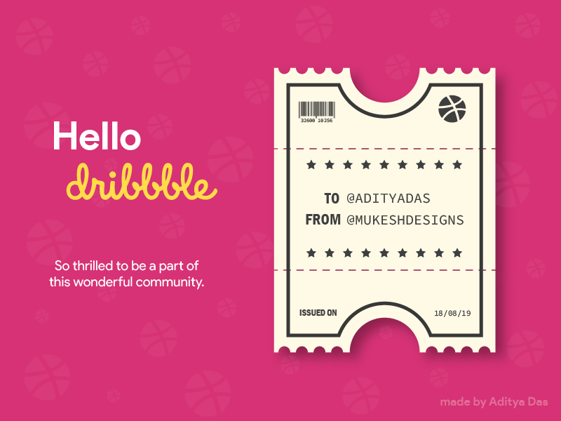 Hello Dribbble illustration illustrator thankyou design art adobe ilustrator graphic design first post ticket first shot firstshot hello dribbble hello dribble