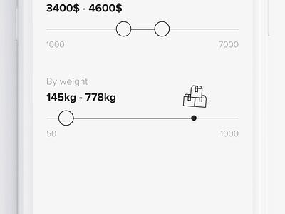 E-commerce - weight slider exploration animated icon filter animation slider exploration ui animation ui 2d animation