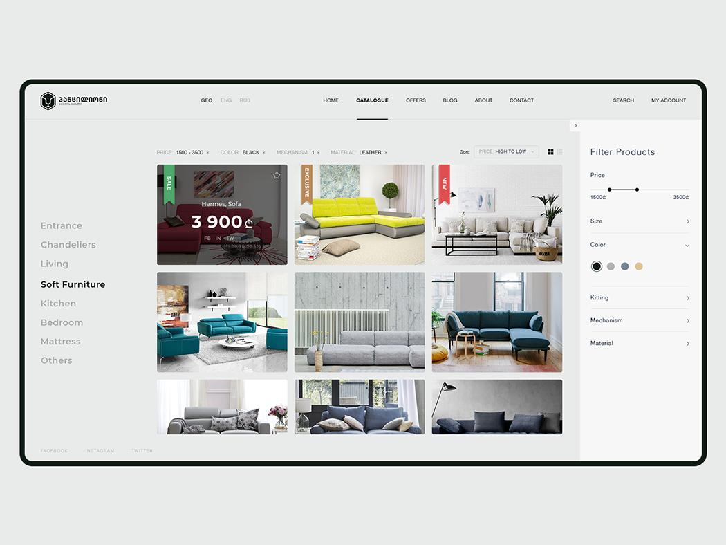 Pantsilion - Furniture House / Web Design / UI/UX ui design ui ux design ux  ui uxui ux website design web design webdesign website web ecommerce design ecommerce online shop furniture store furniture