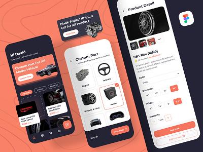 Custom Parts Autommotive App market custom fresh clean orange dark design figma ios vehicle parts automotive ecommerce app uiux ui