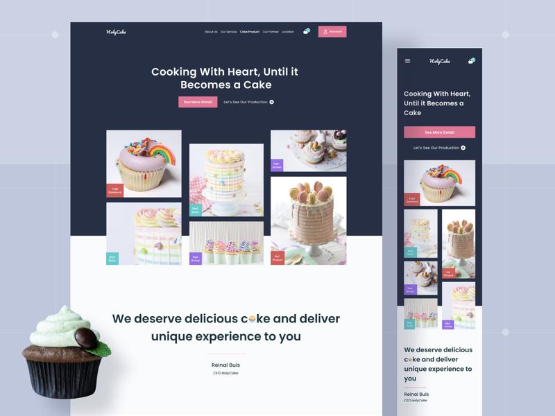 HolyCake Responsive Website dark app branding figma uidesign clean trend pink dark landing page website store cake ecommerce ux design uiux ui