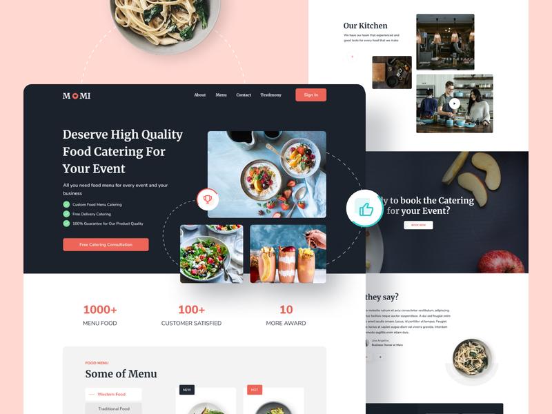 Exploration Day | M0MI Catering Website shopify figma visual design fresh clean red dark ecommerce food catering website landingpage uxdesign ux design ui design uiux ui