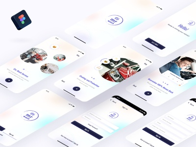 Car Wash and Protection App || Onboarding Section Mr Wash product design uidesign project walthrough onboarding figma car car wash ios 14 fresh clean iphone 11 ios apps ux uiux ui