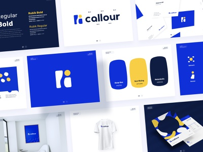 Callour Branding Identity callers elements card fresh clean figma branding agency branding concept ux ui mockup logodesign yellow blue vector identity identity branding logo branding brand