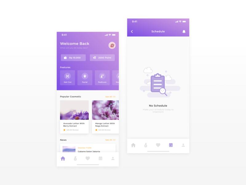 Exploration | Beauty App figma purple clean ilustration ios design app exploration design ux ui