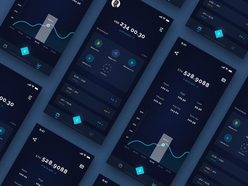 Exploration || Crypto App exploration fresh clean figma ux design ui design dark crypto design ios app