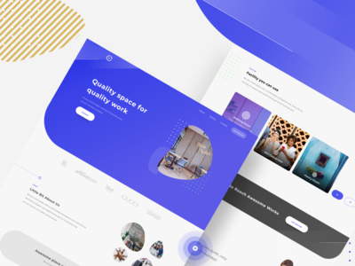 Exploration || Workingspc Landing Page ux awesome abstract colors working space landing page clean exploration figma blue app website ui  ux ui