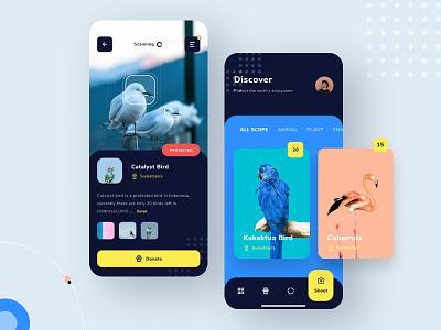 Promal Animal Conservation App design app exploration clean yellow blue dark figma bird animal design app ios ux ui