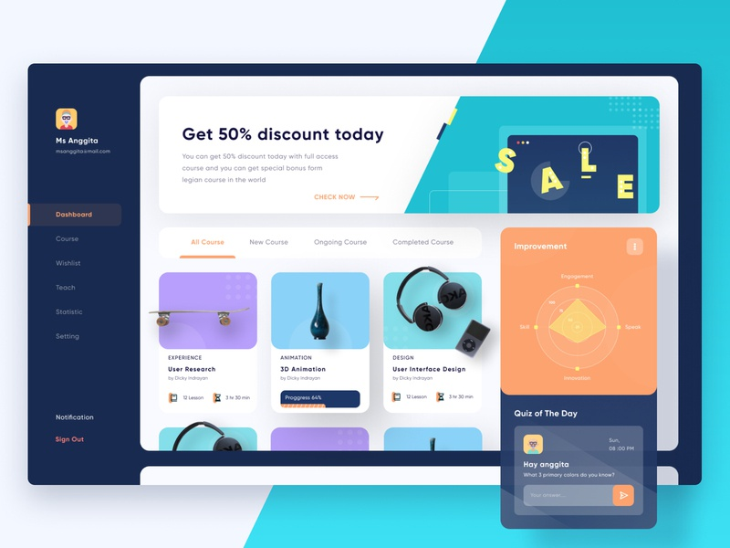 Yo-sinau Course Dashboard statistics course fresh exploration figma orange dark uidesign ux ui dark ui dashboard