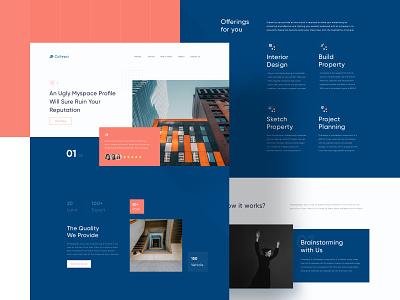 Collepsi - Property Landing Page Concept concept clean fresh design ux ui sketch orange dark elegance luxury website property landing page