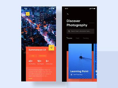 Photography App - Exploration colorfull trend exploration photography blue orange dark cool fresh mobile product design ios app design ux ui