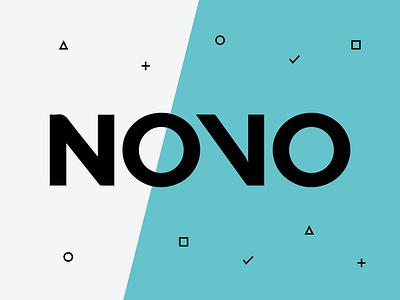 NOVO badge name tag signage conference blue logo brand and identity brand