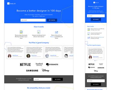 DailyUI - 100 - Redesign Daily UI Landing Page