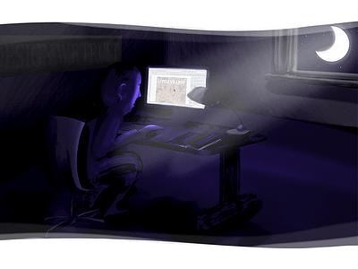 """In Design We Trust"" Illustration moon purple designer working night photoshop editorial wacom illustration"