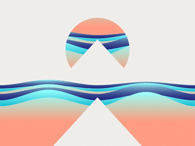 Peach Peaks waves shapes mountain freebie wallpaper android vector illustration