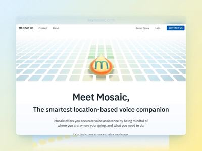 Mosaic Website artificial intelligence voice assistant illustration brand and identity motion video website animation web design website