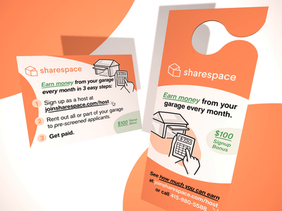 Sharespace Direct Mail 3d postcard door hanger collateral sharespace startup branding motion graphics print
