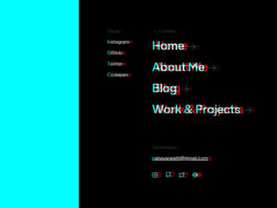 Side menu - dark mode portfolio website