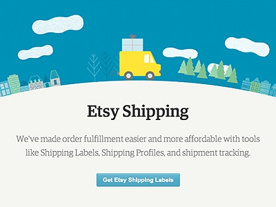 Etsy Shipping single page marketing animation illustration