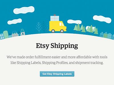 Etsy Shipping single page marketing animation illustration