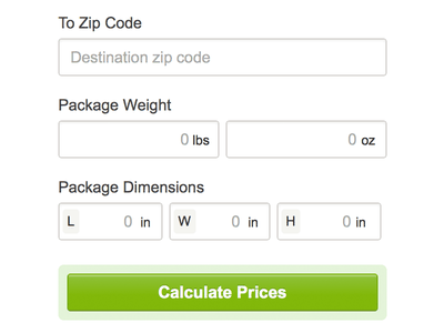 Price Your Postage forms ui design