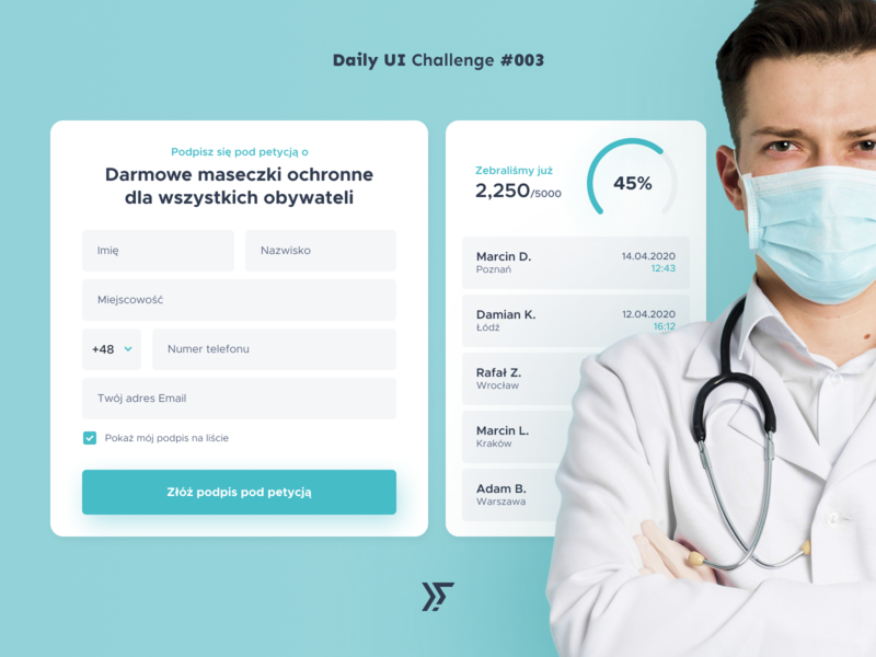 Daily UI #003 - Petition Form white vector design dutkiewicz graphic uiux minimal webdesign challenge dailyuichallenge dailyui daily