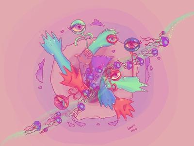 Arrebol surrealism jellyfish eyes procreate illustration
