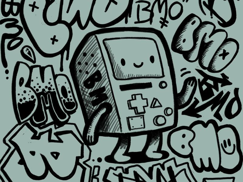 Cartoon Network Adventure Time Apparel wotto adobe photoshop apparel official licensed street art doodles hand drawn grafitti graffiti bmo cartoon network adventure time