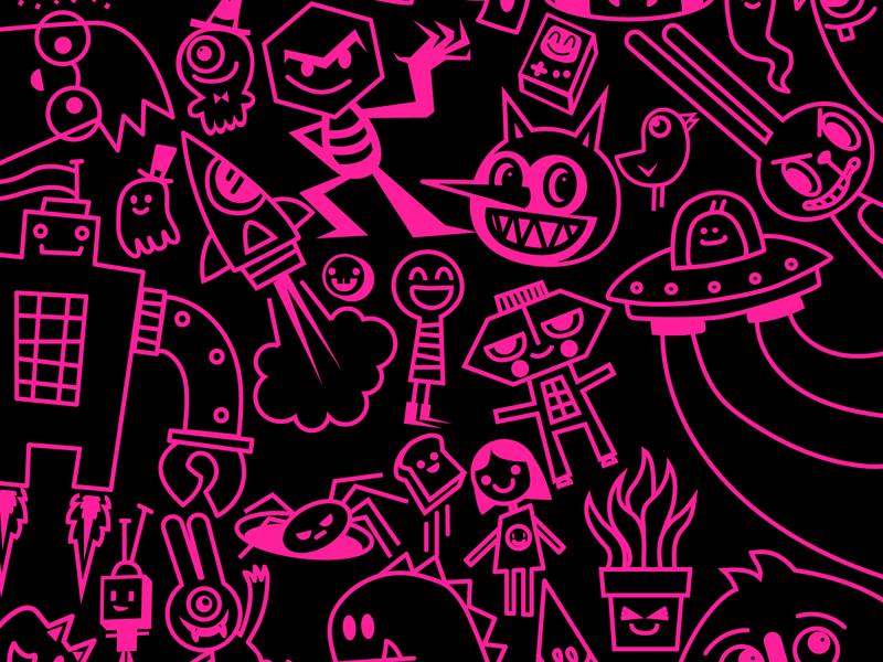 Bits n' Bobs vector illustration vector doodles character design kawaii doodle wotto cute illustration characters doodles vector art pink vector